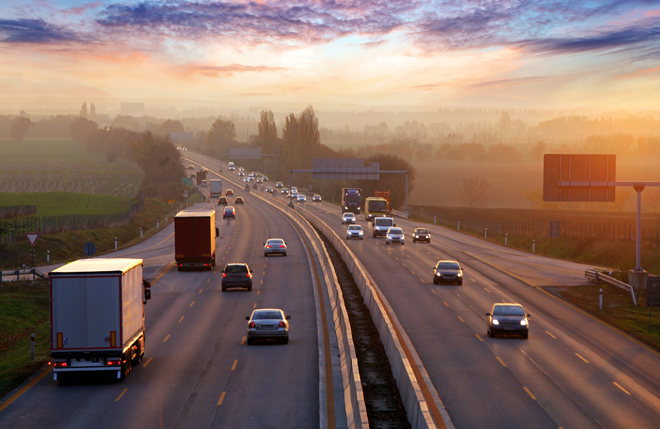 A busy motorway in the evening