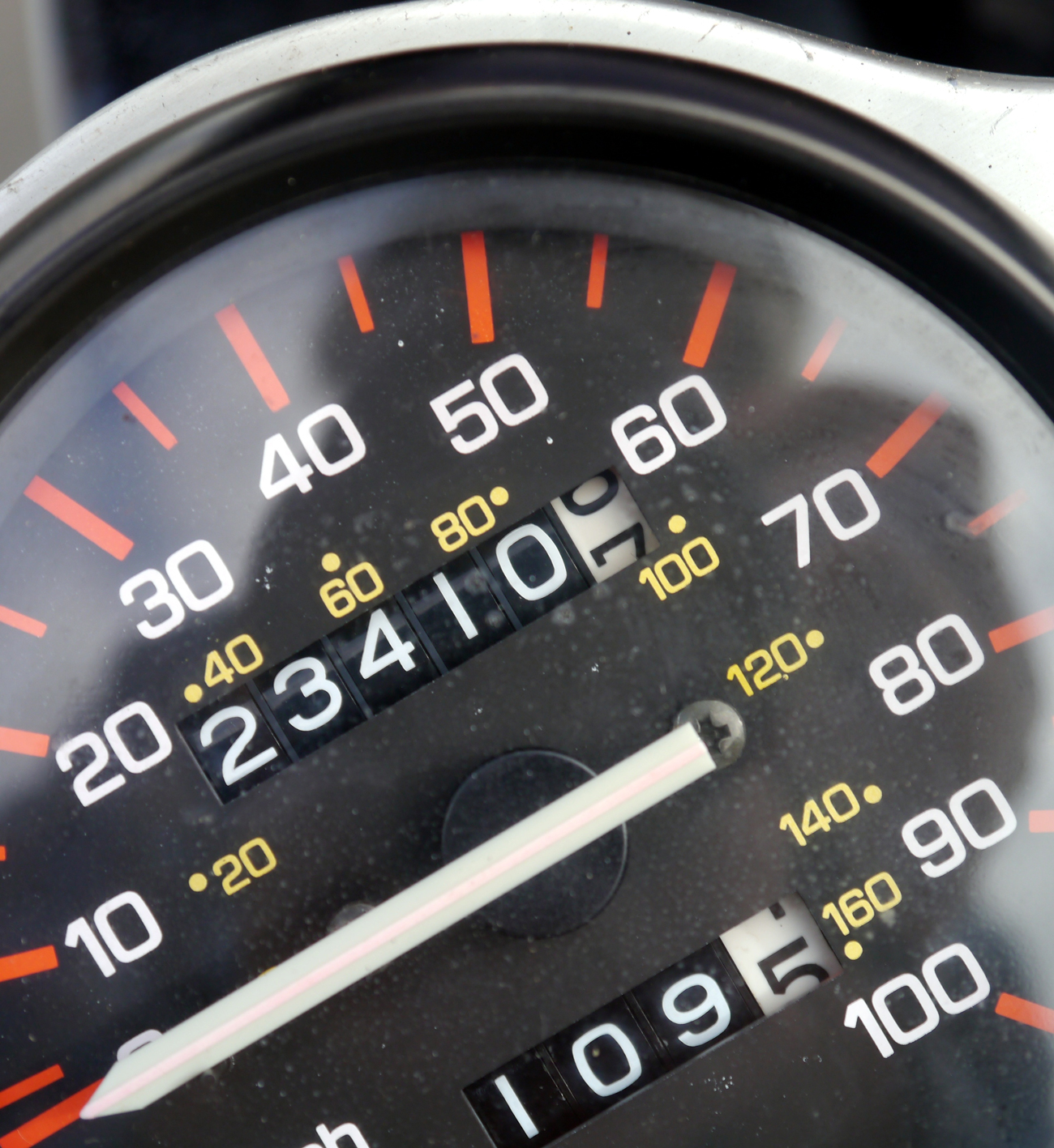 A speedometer dial in a car